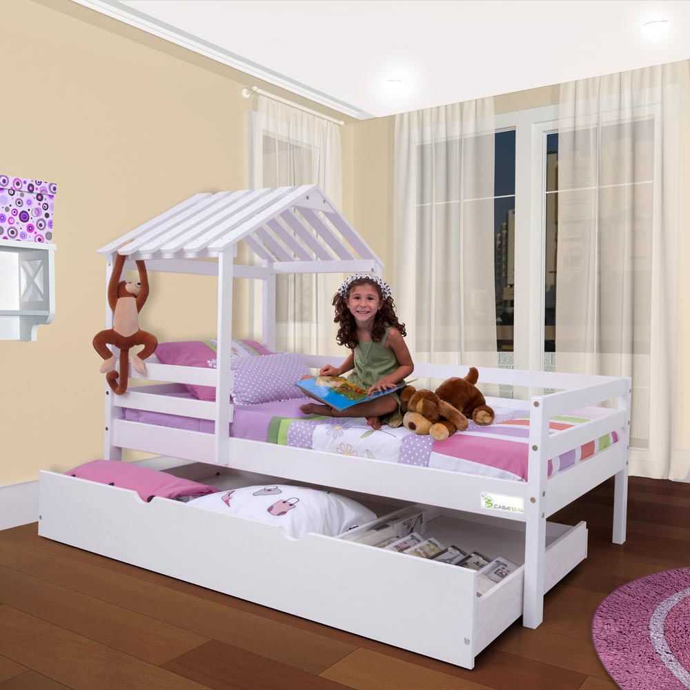 Cama infantil com telhado grade de prote o e gavet o ou for Cama infantil