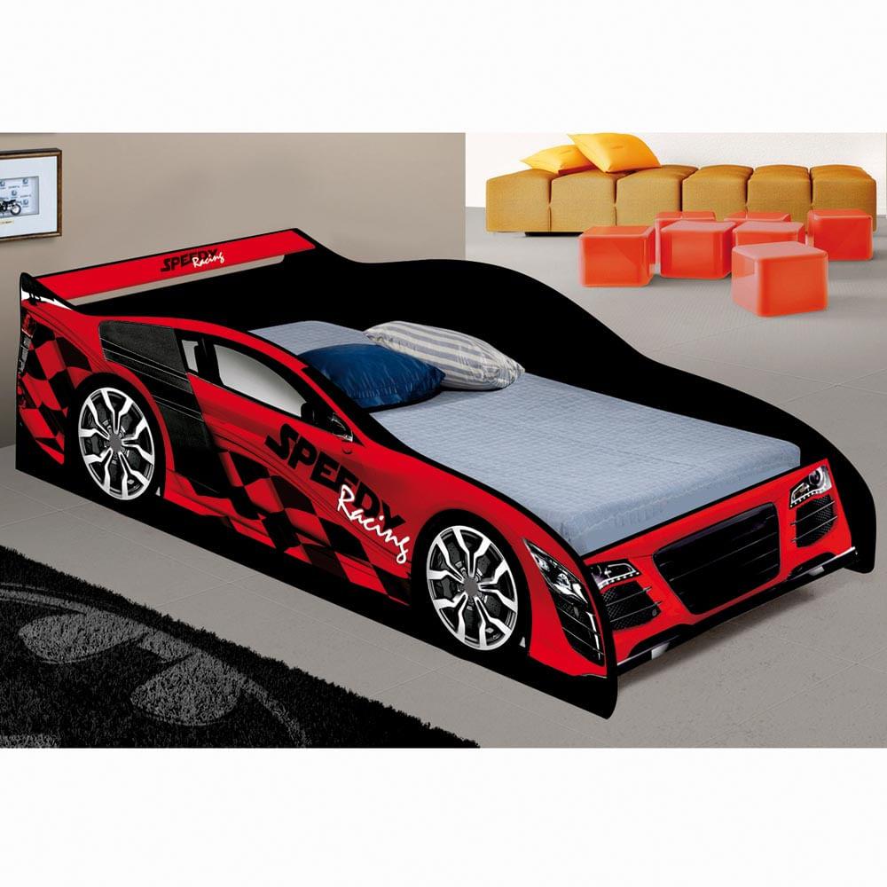 Cama infantil solteiro carro speed racing vermelho 100 - Cama coche infantil ...