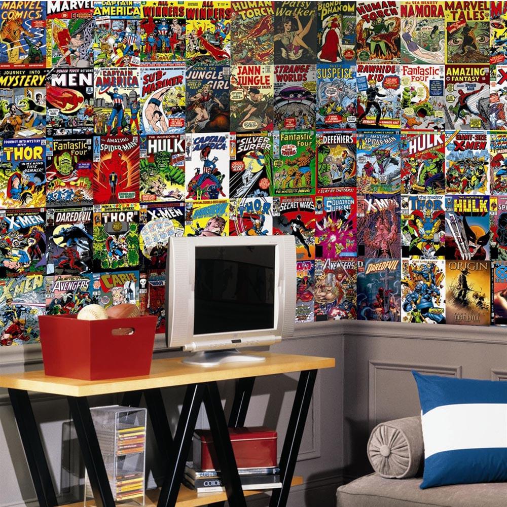 Mural De Parede Quadrinho 65 Capas Dos Comics Da Marvel Remov Vel  ~ Mural De Fotos Na Parede Do Quarto