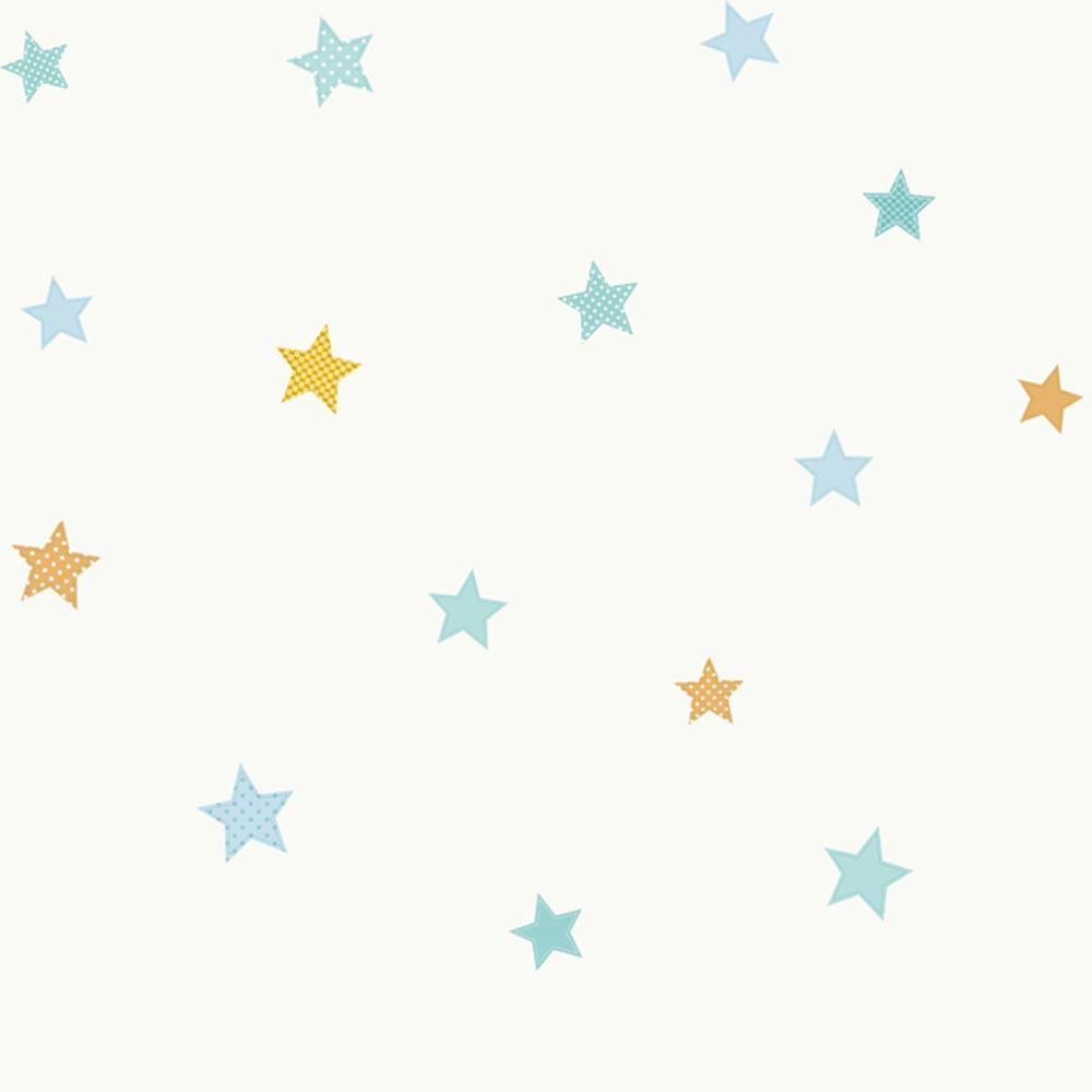 Papel de parede infantil branco c u estrelado peek a boo for Papel decomural infantil