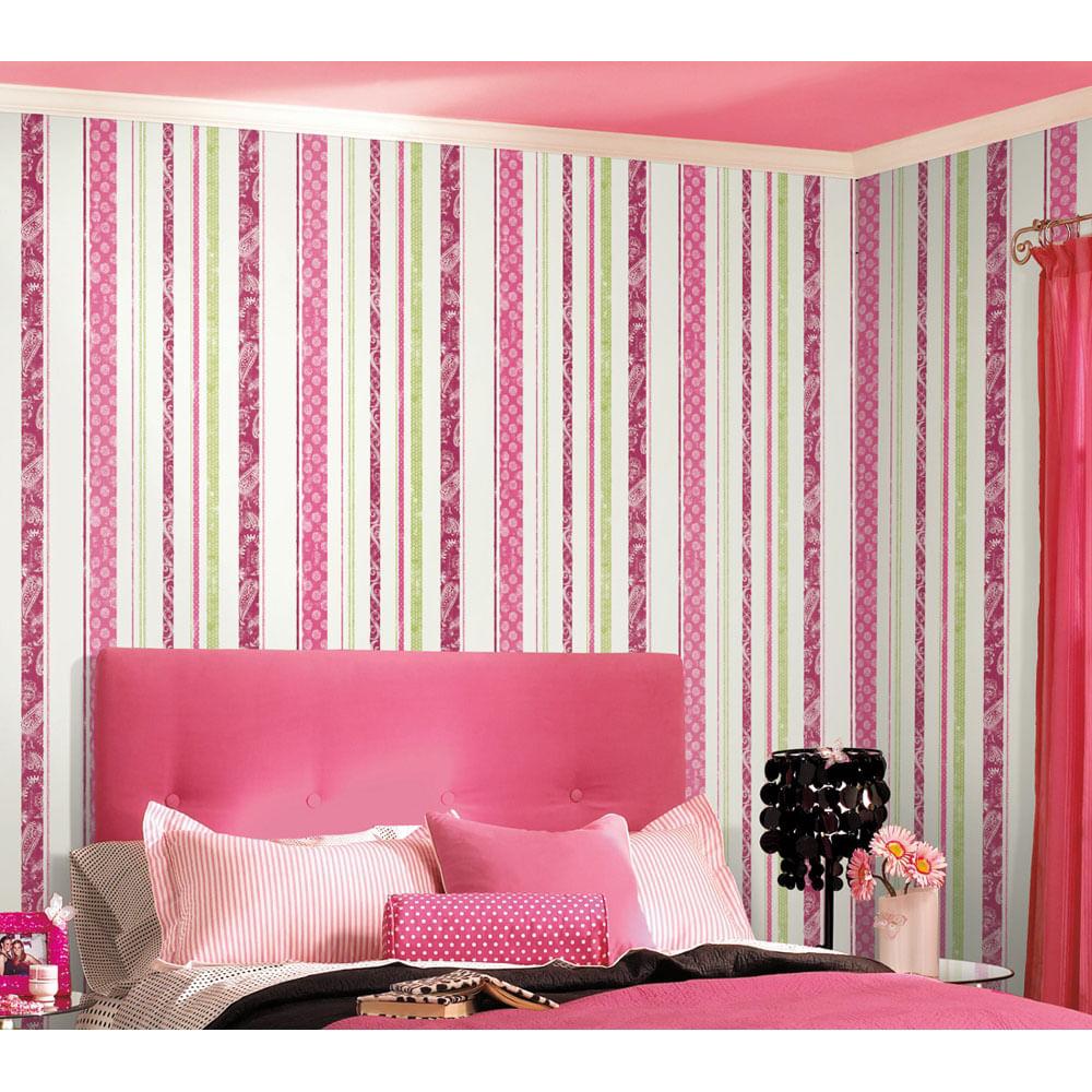 Papel de Parede Listras Pink Rosa Disney  York  CasaTema