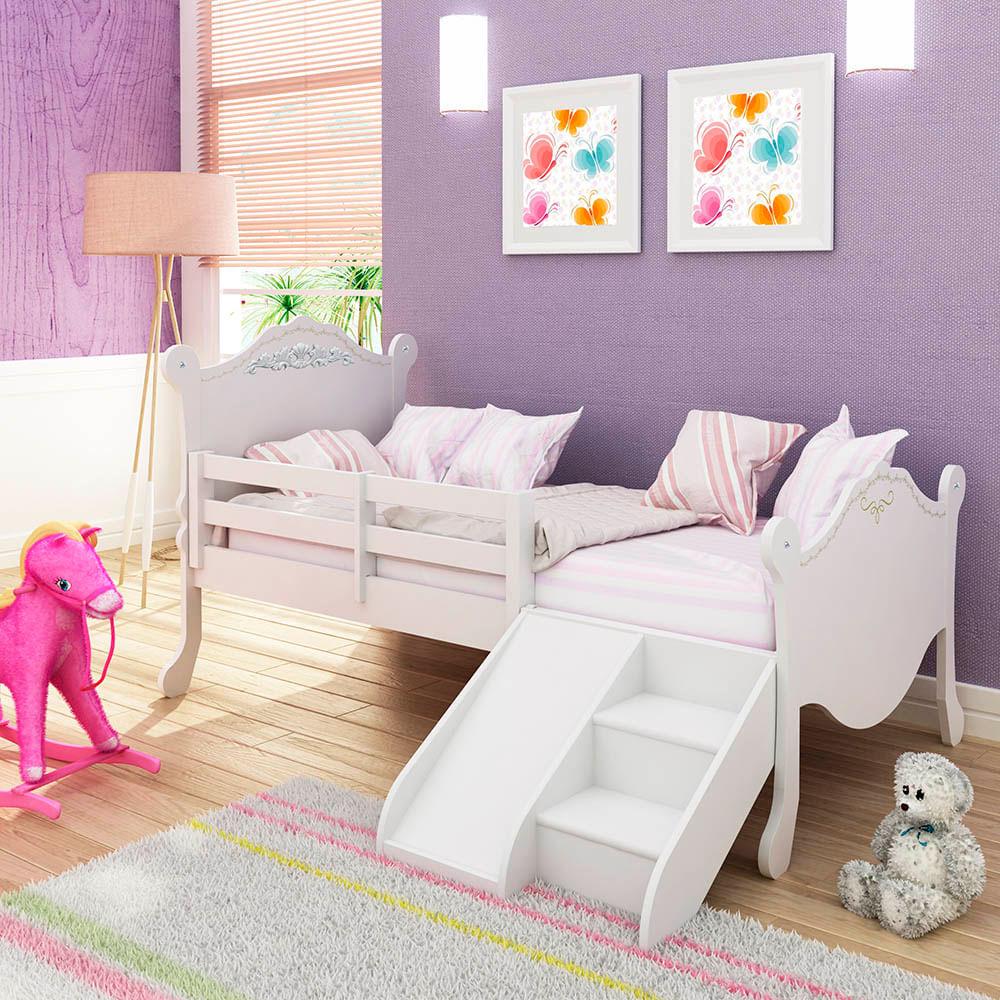 Cama infantil proven al com grade de prote o escadinha e - Dosel para cama infantil ...