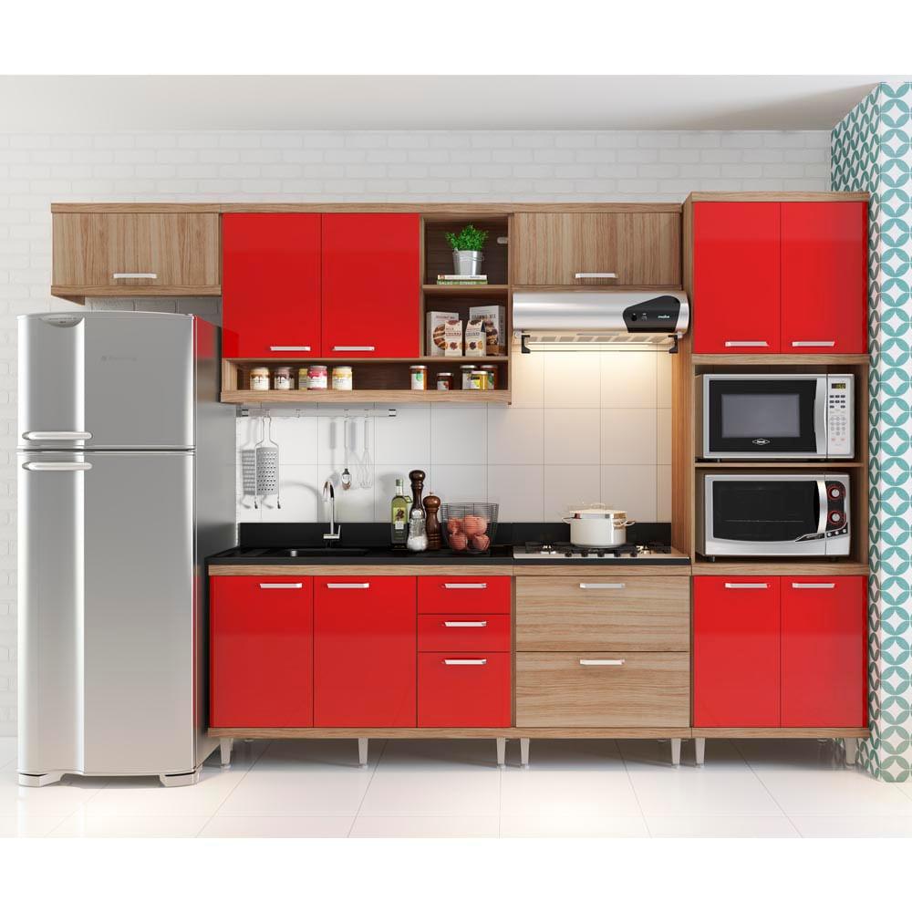 Cozinha Compacta Aéreos, Armário p FornoMicroondas, Balcões de PiaCooktop # Cozinha Planejada Pequena Com Vermelho