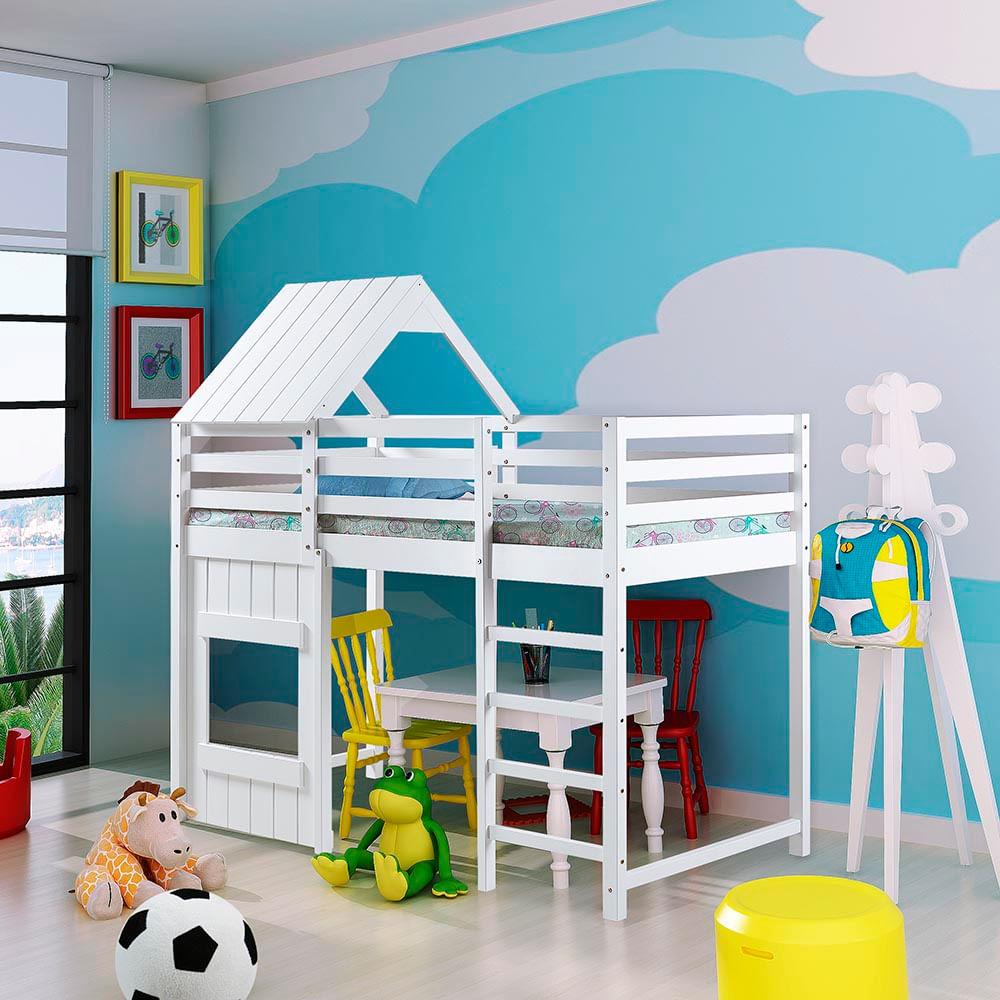 Cama infantil alta kinder com telhado e grade de prote o - Cama alta infantil ...