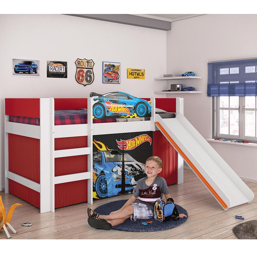 Cama infantil Hot Wheels Play com Escorregador, Pista pra
