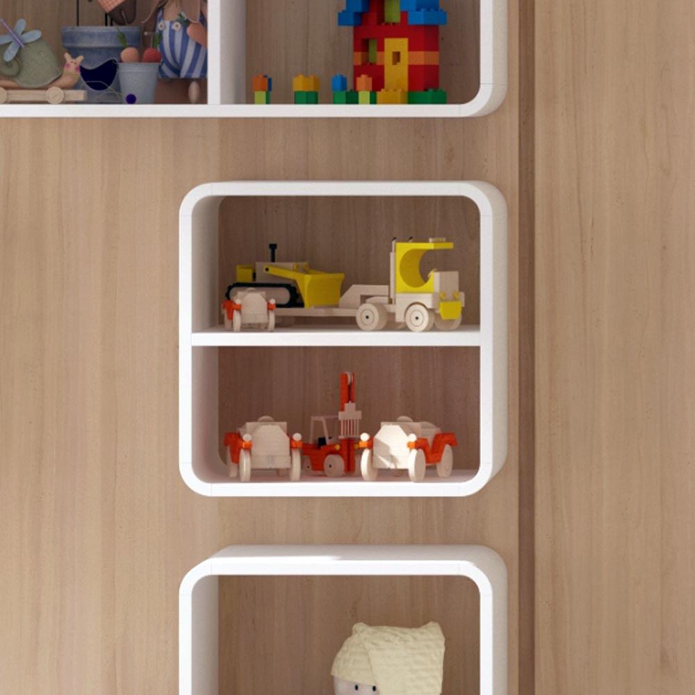 Nicho Decorativo Arredondado com Prateleira Branco para Quarto Infantil  Cas