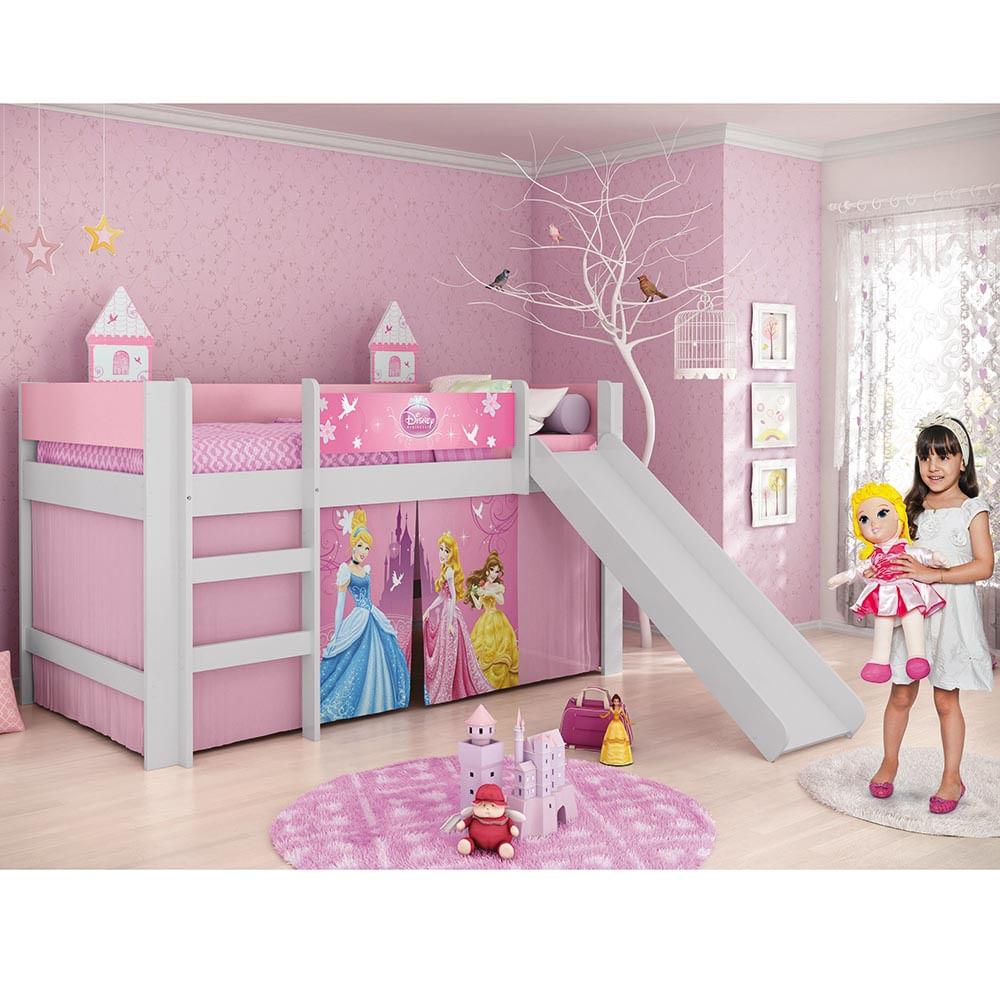 Cama Infantil Princesas Disney Play com Escorregador 100  ~ Jogo De Quarto Infantil Com Bicama