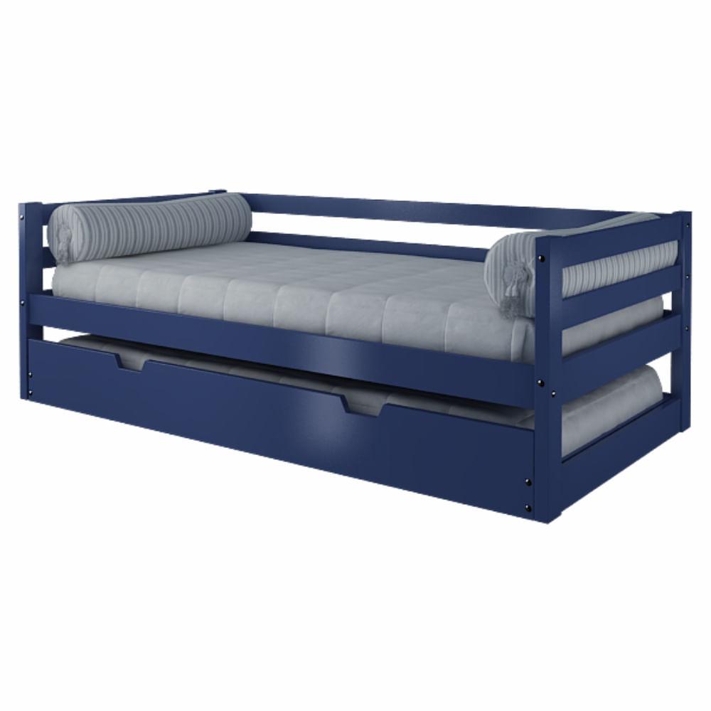 Sof cama com cama auxiliar azul madeira maci a casatema for Cama cama cama