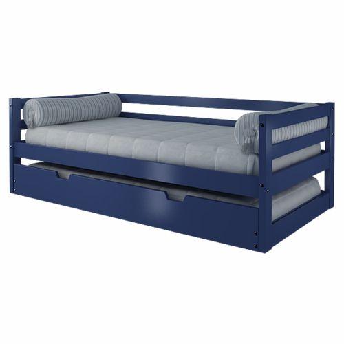 Sof cama com cama auxiliar azul madeira maci a casatema for Sofa cama 1 persona