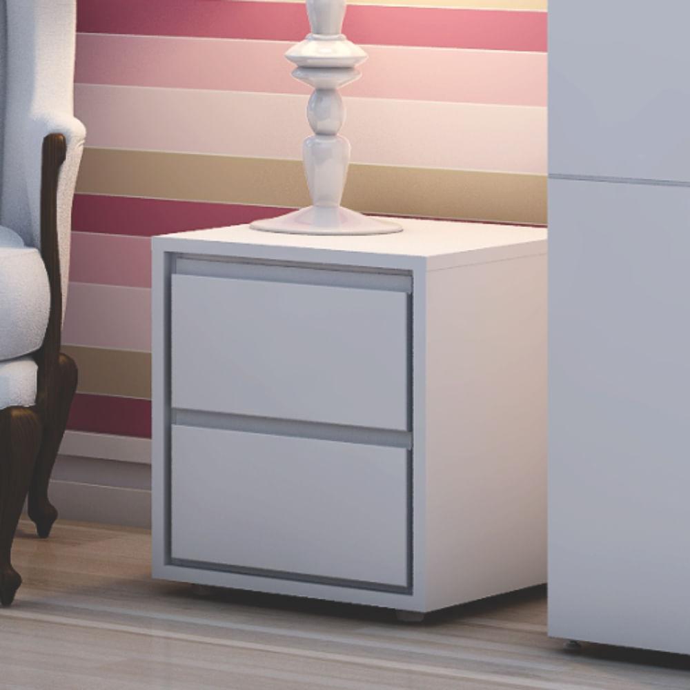 criado mudo 2 gavetas mdf 18mm laca branco fosco. Black Bedroom Furniture Sets. Home Design Ideas