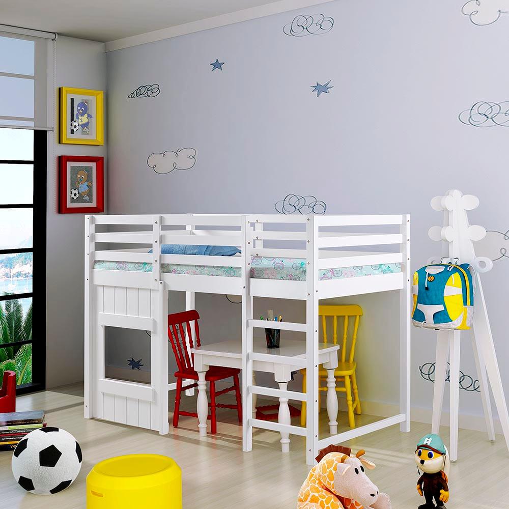 Cama infantil alta kinder com janelinha e grade de - Cama alta infantil ...