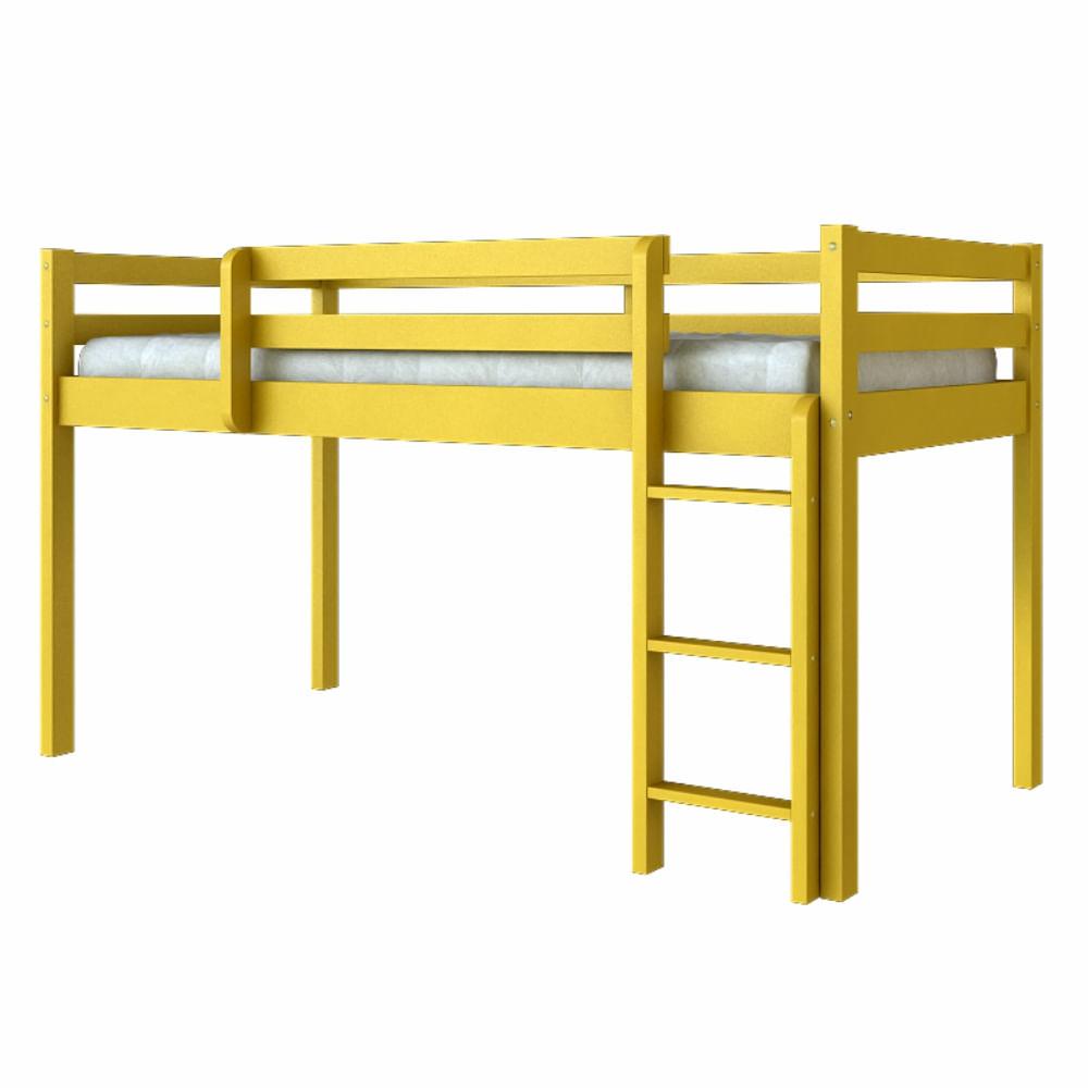 Cama infantil alta madeira maci a amarelo casatema - Cama alta infantil ...