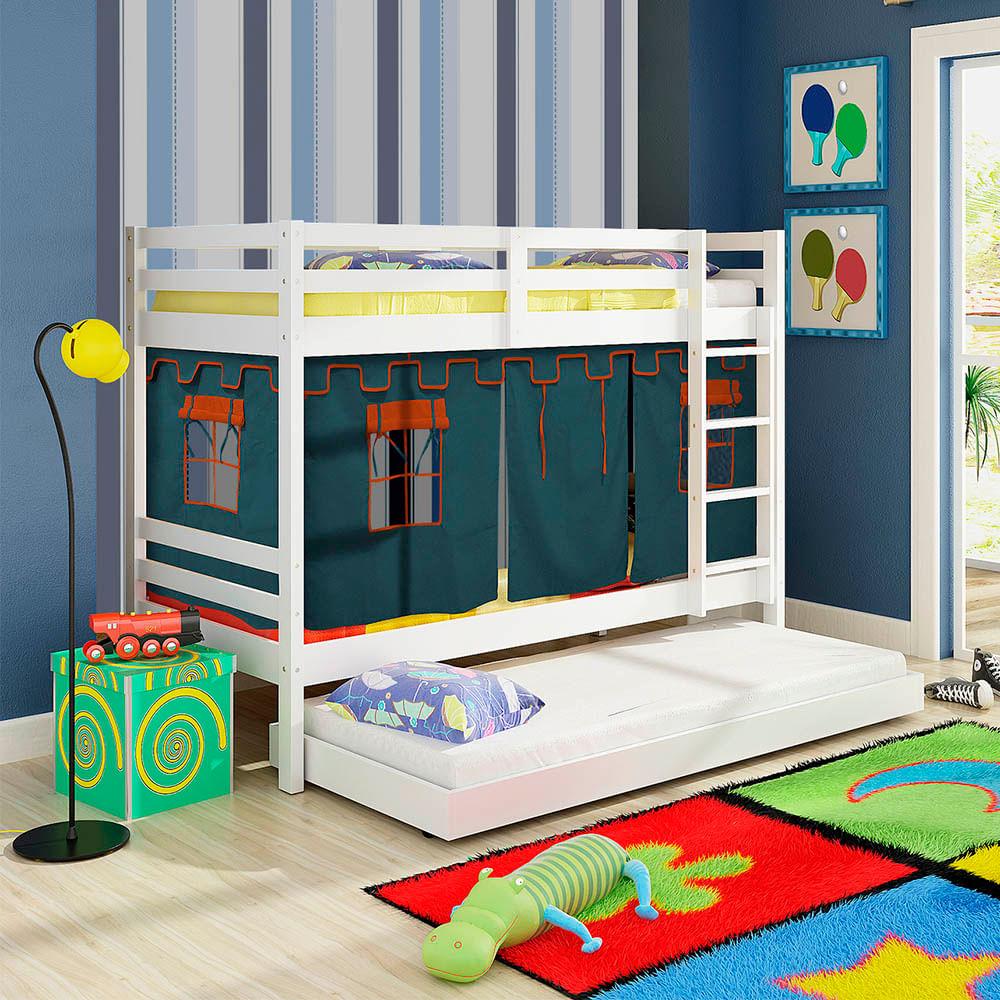 Beliche infantil teen play com cama auxiliar e tenda azul for Camas de 1 20