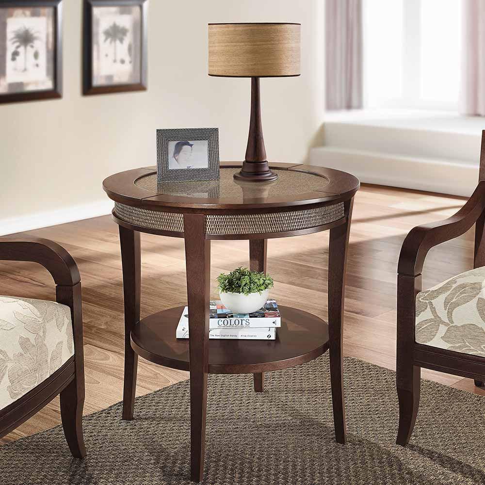 Mesa lateral loa ii rattan p s em curva e prateleira acabamento em verniz madeira maci a - Mesas de rattan ...
