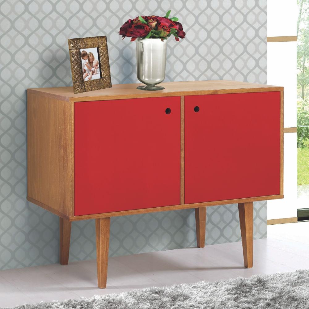 Aparador Ikea Ps ~ Buffet 2 Portas Vintage Vermelho Laqueado Fosco e Estrutura Madeira Maciça CasaTema