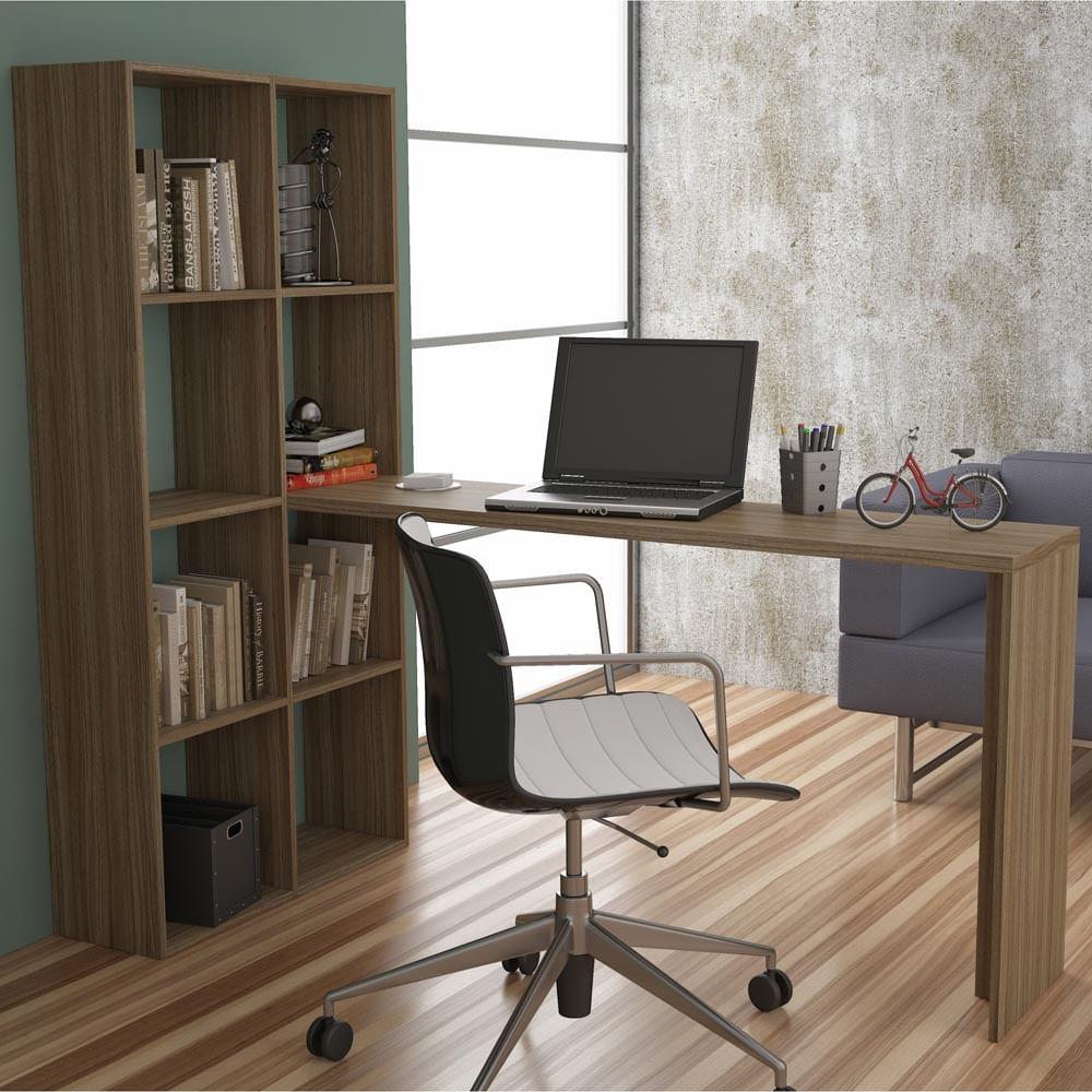 Escrivaninha e estante com prateleiras carvalho casatema for Mesa biblioteca