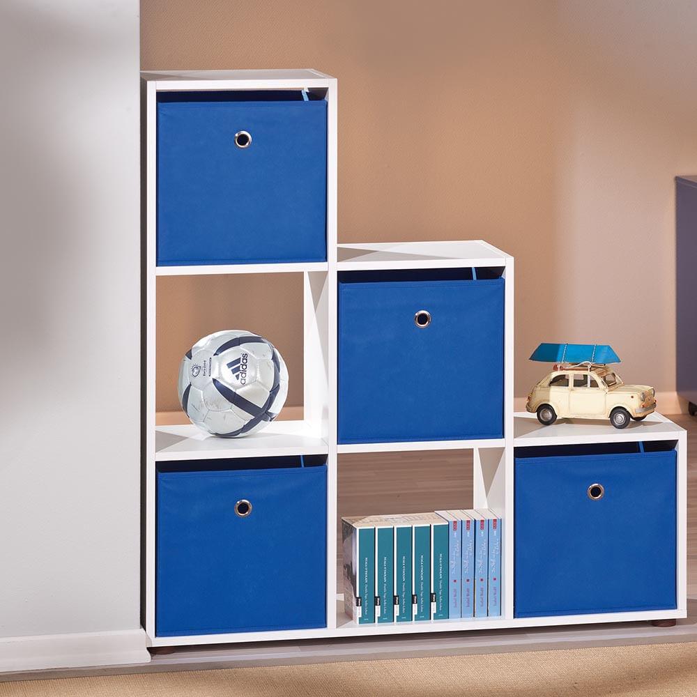 Estante Para Quarto Infantil Com 6 Nichos E 4 Caixas Organizadoras  ~ Decoração De Quarto Infantil Com Nichos E Prateleiras