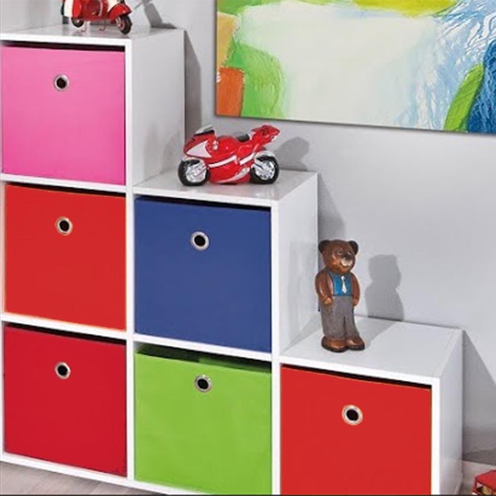 Estante para Quarto Infantil com 6 Nichos  6 Caixas Organizadoras em Diversa