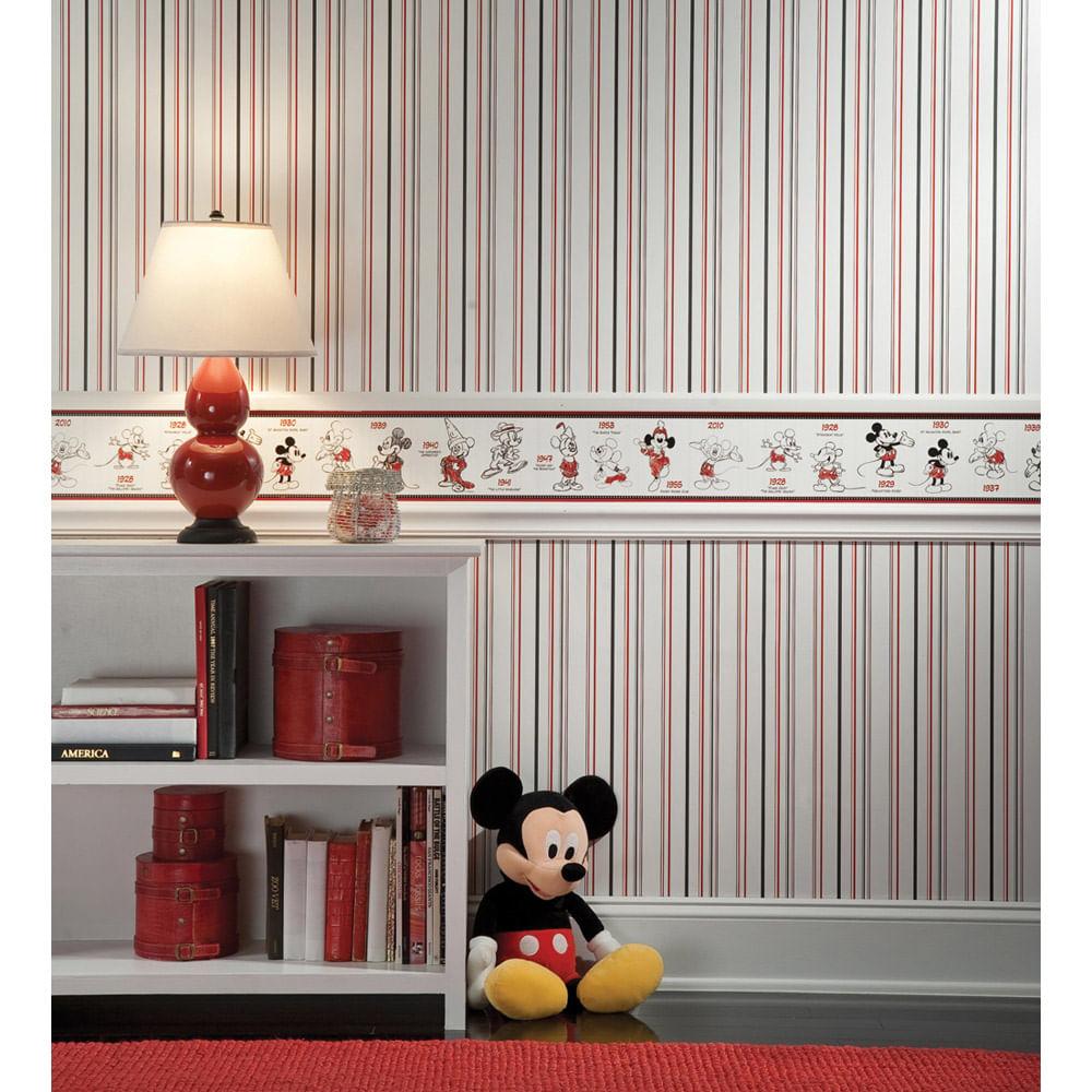 Papel De Parede Mickey Mouse Disney Com Listras York Casatema ~ Papel De Parede Para Quarto Infantil Personagens