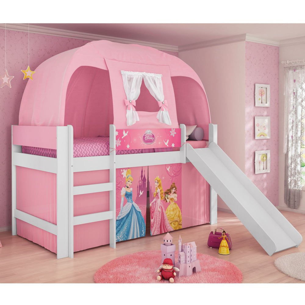 Cama infantil princesas disney play c escorregador for Camas de princesas