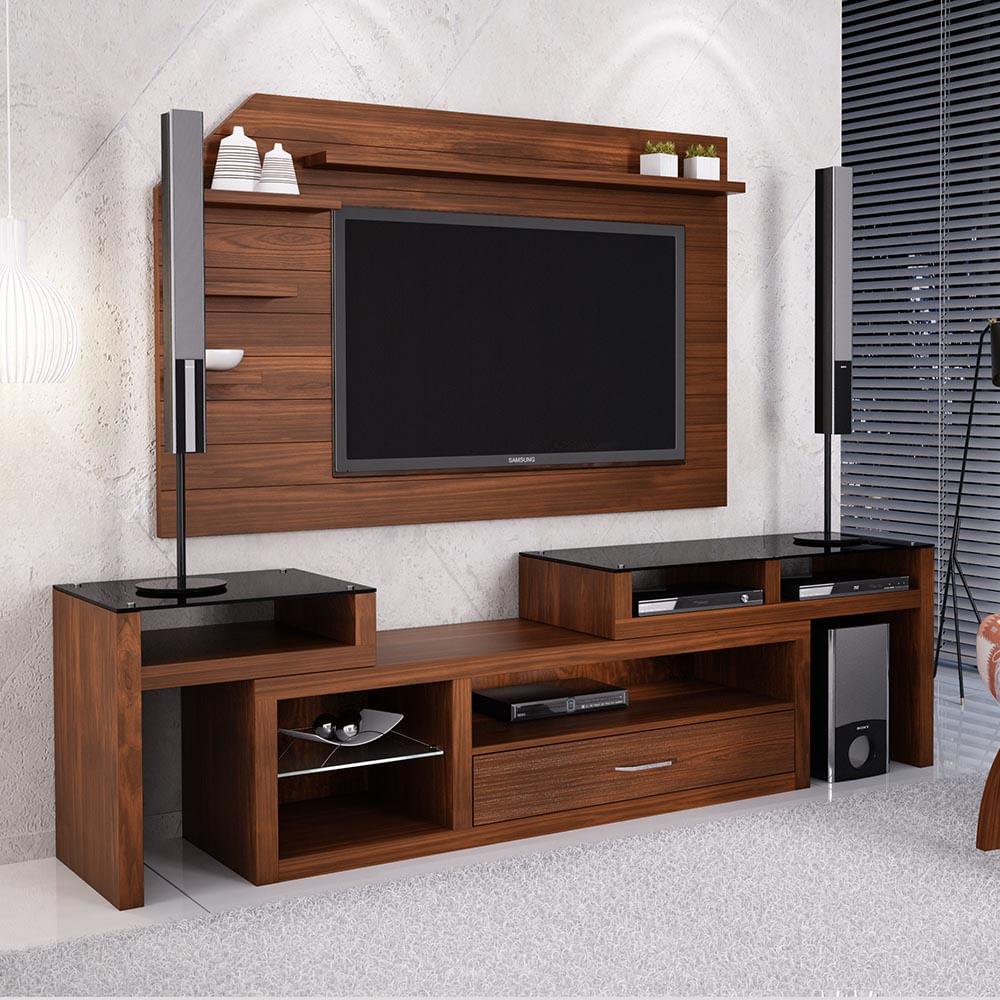 Painel de tv 42 e rack de sala extens vel com tampo de for Em muebles