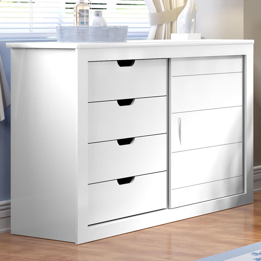 c moda 4 gavetas 1 porta branco brilho casatema casatema