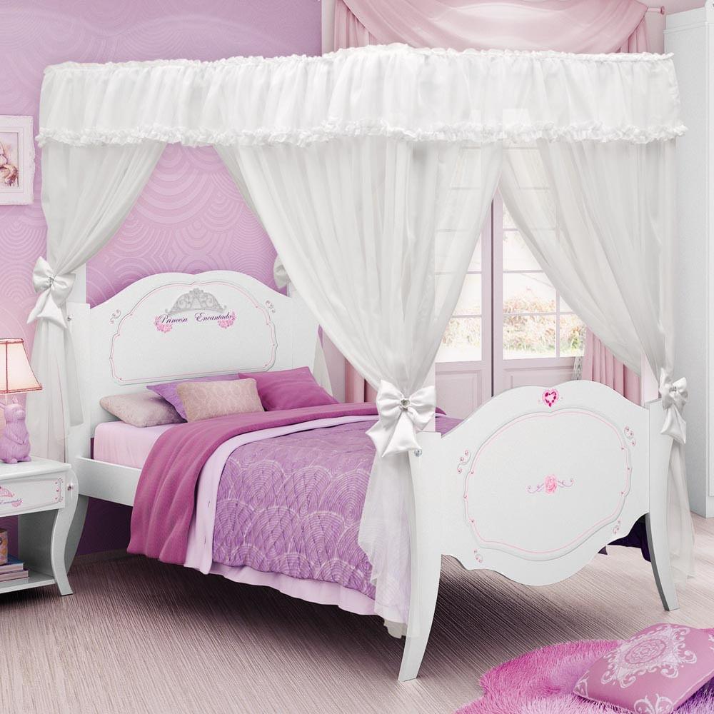 Cama princesas encantada clean com dossel pura magia for Cama infantil