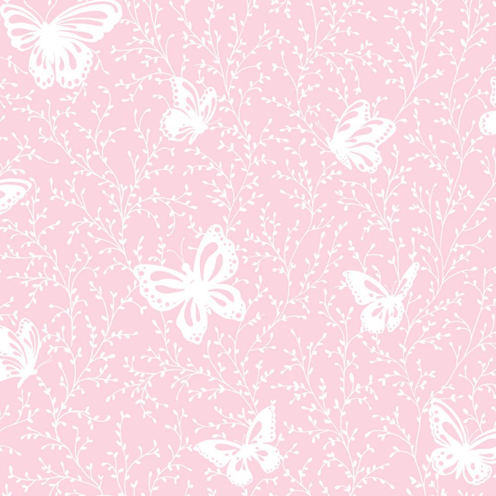 papel de parede infantil rosa jardim de borboletas peek