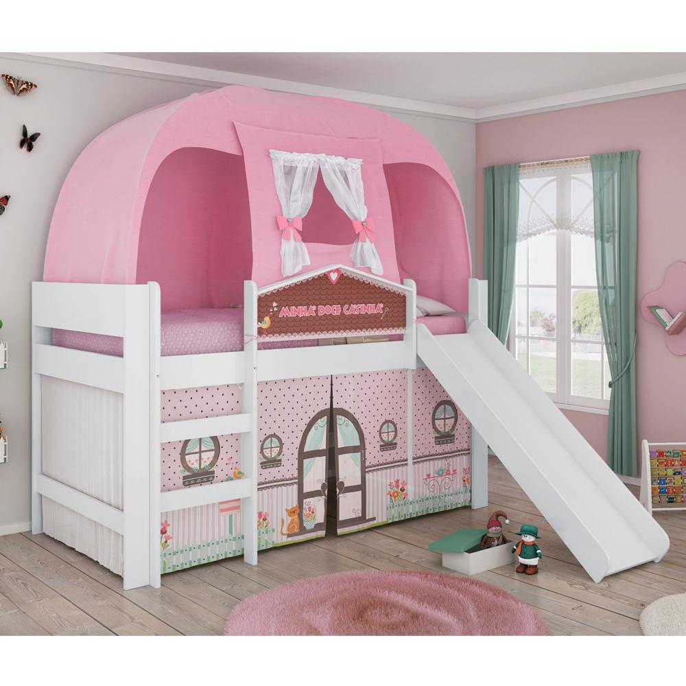 Cama infantil doce casinha play com escorregador cabana e for Cama infantil