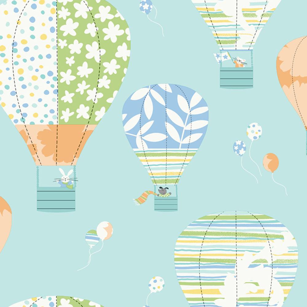 Papel de parede infantil azul claro de bal es de ar quente for Papel para empapelar infantil