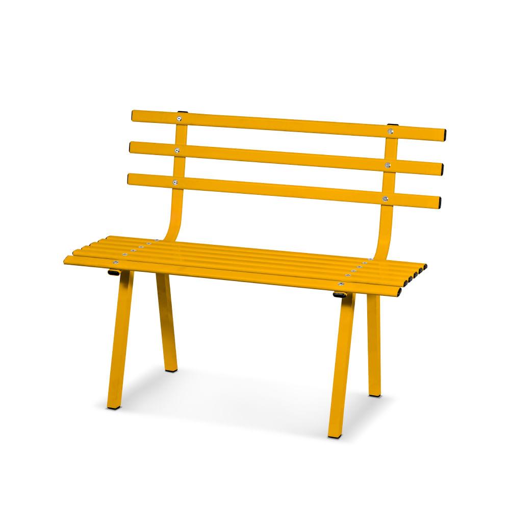 banco jardim aluminio:Banco de Jardim com 2 lugares em Alumínio Polido – Amarelo – CasaTema
