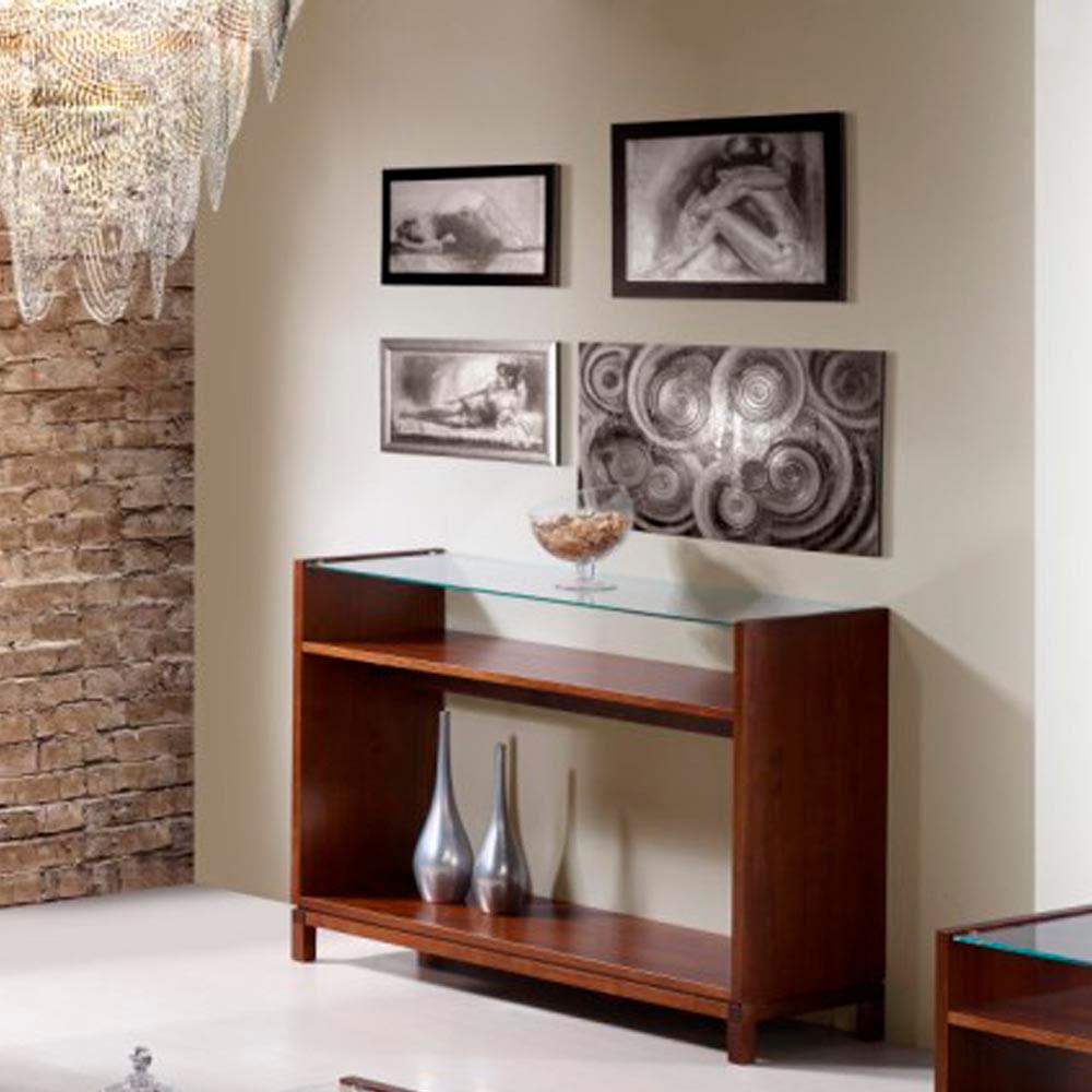 Aparador ou mesa console madeira maci a e tampo de vidro - Mesa aparador ikea ...