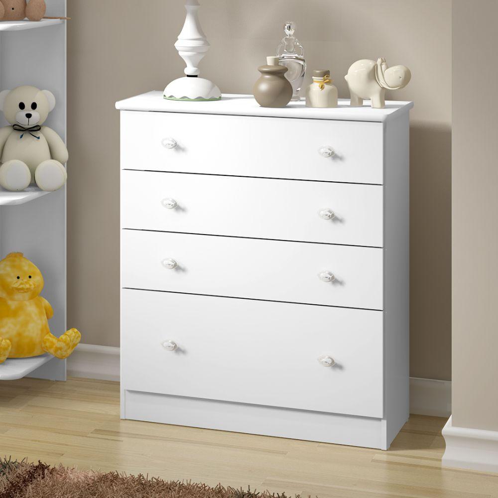 C moda 4 gavetas branco brilho colorido casatema casatema - Comoda cambiador bebe ...