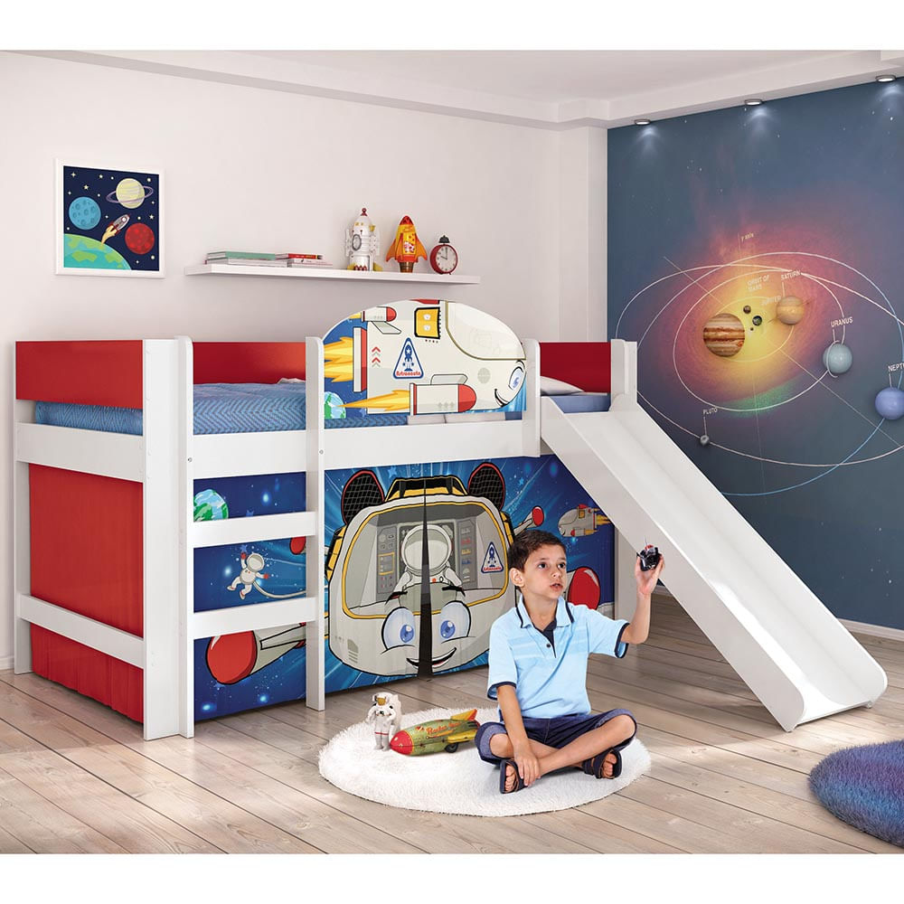 Cama infantil com escorregador astronauta play pura for Cama infantil