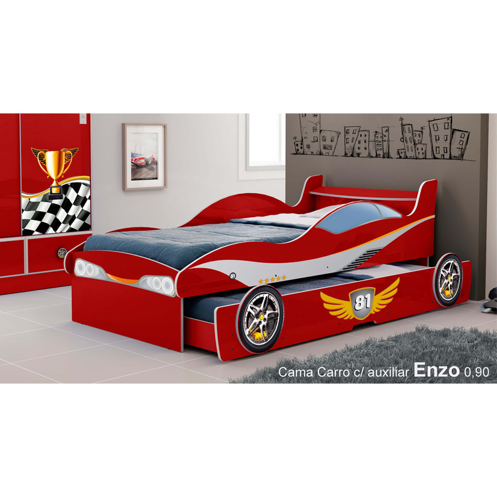 Cama infantil carro enzo com auxiliar vermelha gelius - Cama coche infantil ...