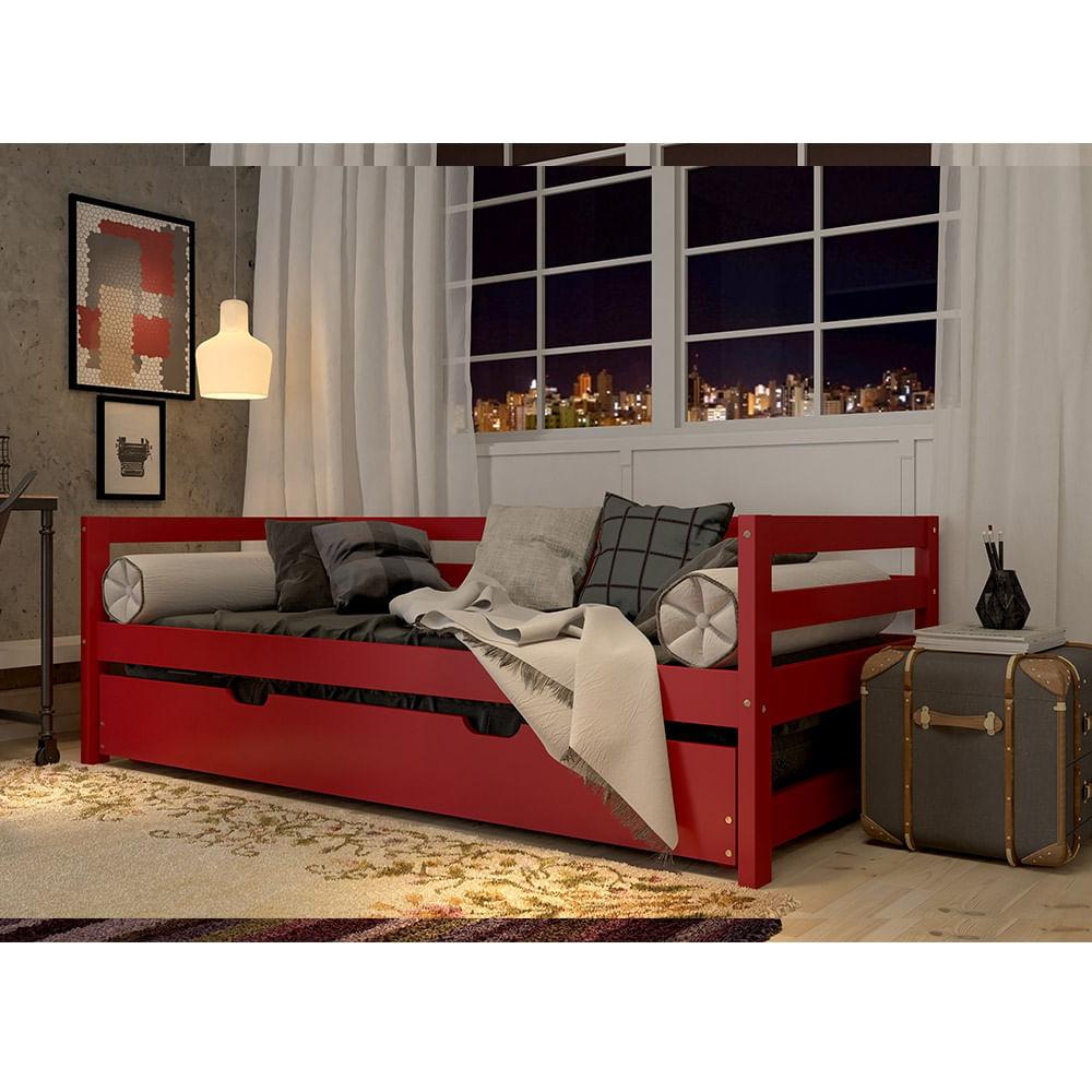Sof cama com cama auxiliar vermelho madeira maci a for Cama cama cama