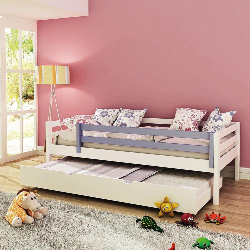 Cama infantil prime c cama auxiliar ou gavet o e grade de - Dosel para cama infantil ...