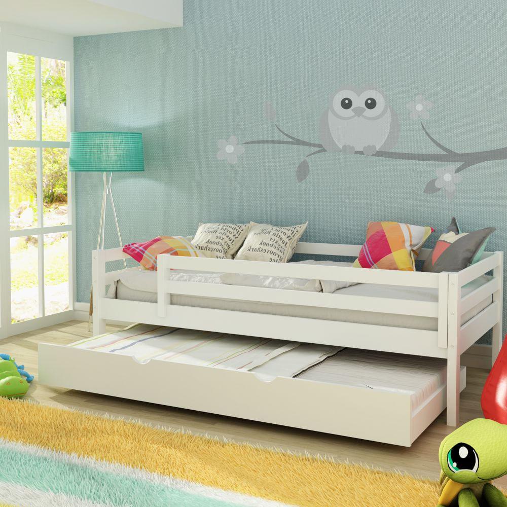 Cama infantil prime c cama auxiliar gavet o e grade de prote o laca branco casatema casatema - Sofas cama infantiles ...