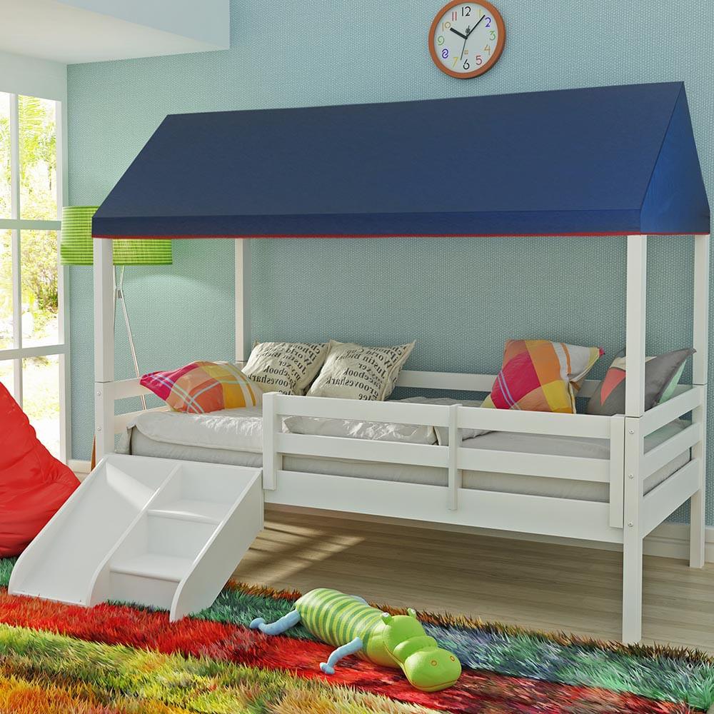 Cama infantil prime com grade de prote o telhado completo e kit escadinha escorrega - Dosel para cama infantil ...