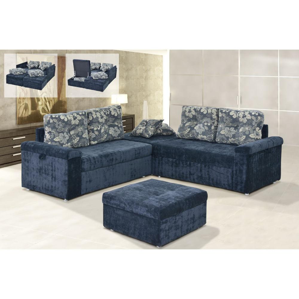 Sof cama de canto 4 lugares 2 puffs com ba e almofadas for Sofa cama espuma 1 plaza