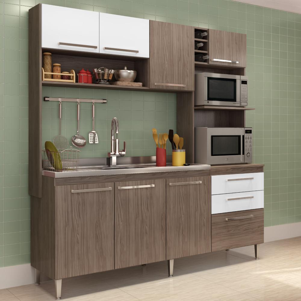 Cozinha Compacta A Reo 3 Portas Arm Rio Para Forno E Balc O De  ~ Balcão Com Pia Para Cozinha