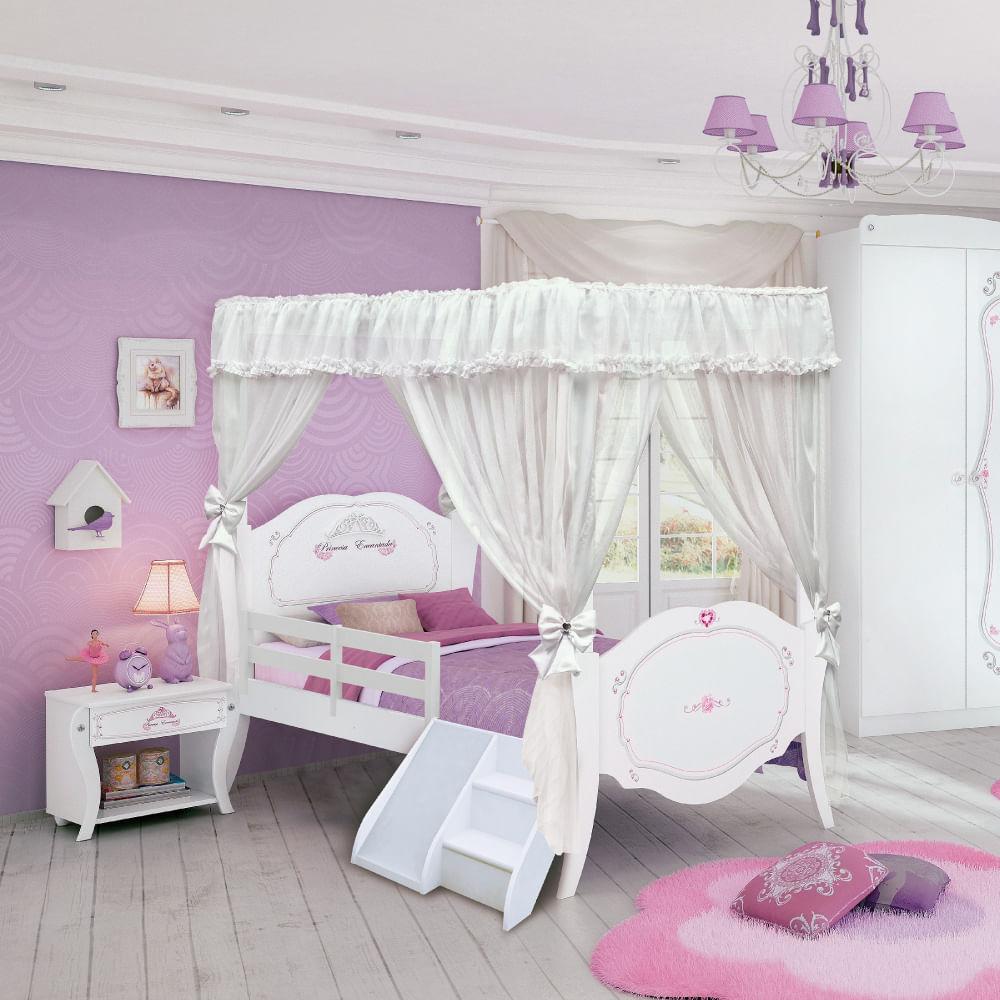 Cama infantil princesa encantada clean com dossel grade escadinha e escorregador pura magia - Camas de princesas ...