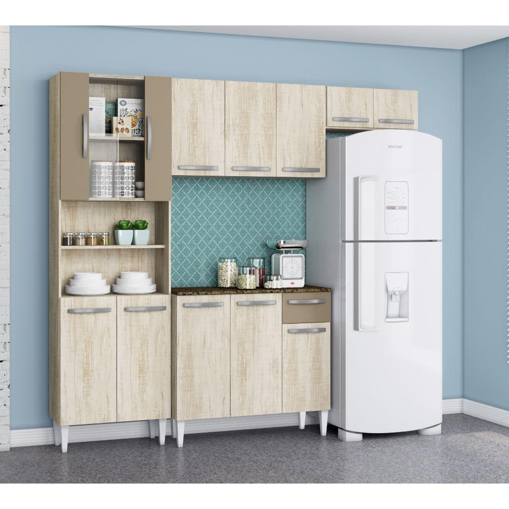 Cozinha Compacta Julia Com Porta De Vidro Paneleiro Duplo E Arm Rio