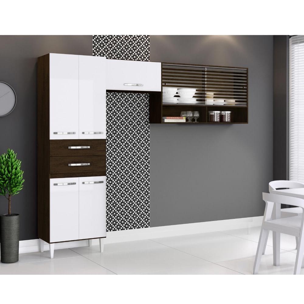 Cozinha Compacta Joyce em L com Paneleiro e Aéreos  RavelloBranco  CasaTe # Cozinha Compacta Em L
