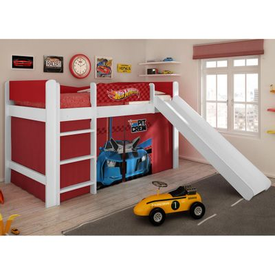 Cama_Infantil_Hot_Wheels_Play_com_Escorregador_e_Cortina_-_Pura_Magia_