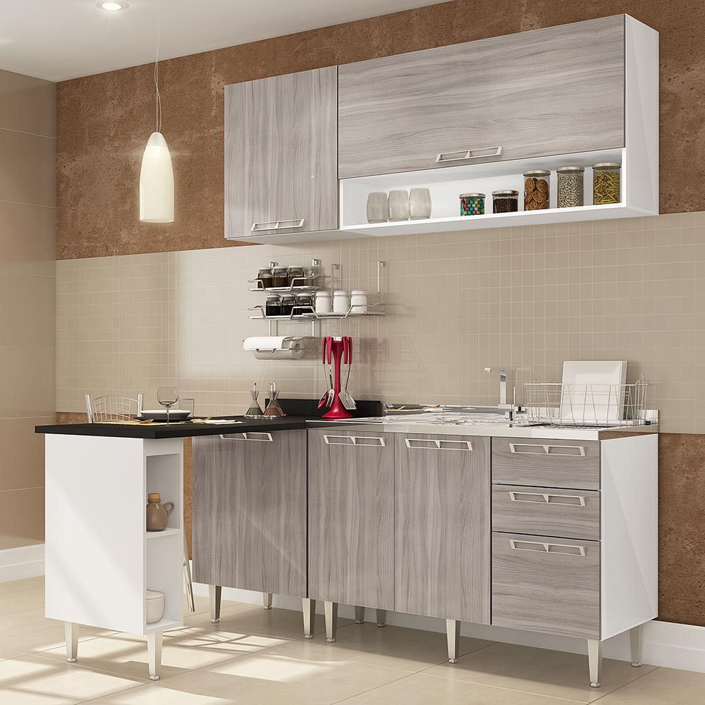 Cozinha Compacta C Mesa Auxiliar Balc O P Pia 1 Balc O C Porta
