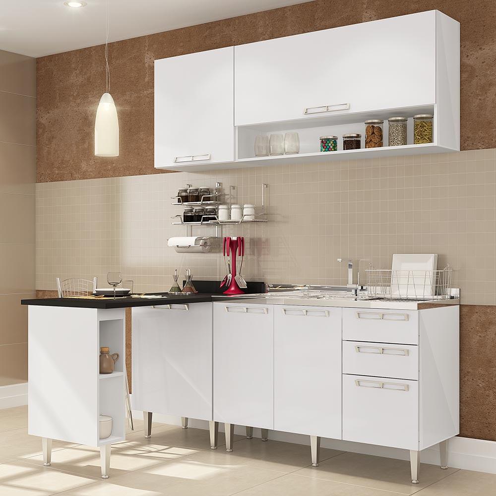Cozinha Compacta Com Mesa Auxiliar 1 Balc O P Pia 1 Balc O C