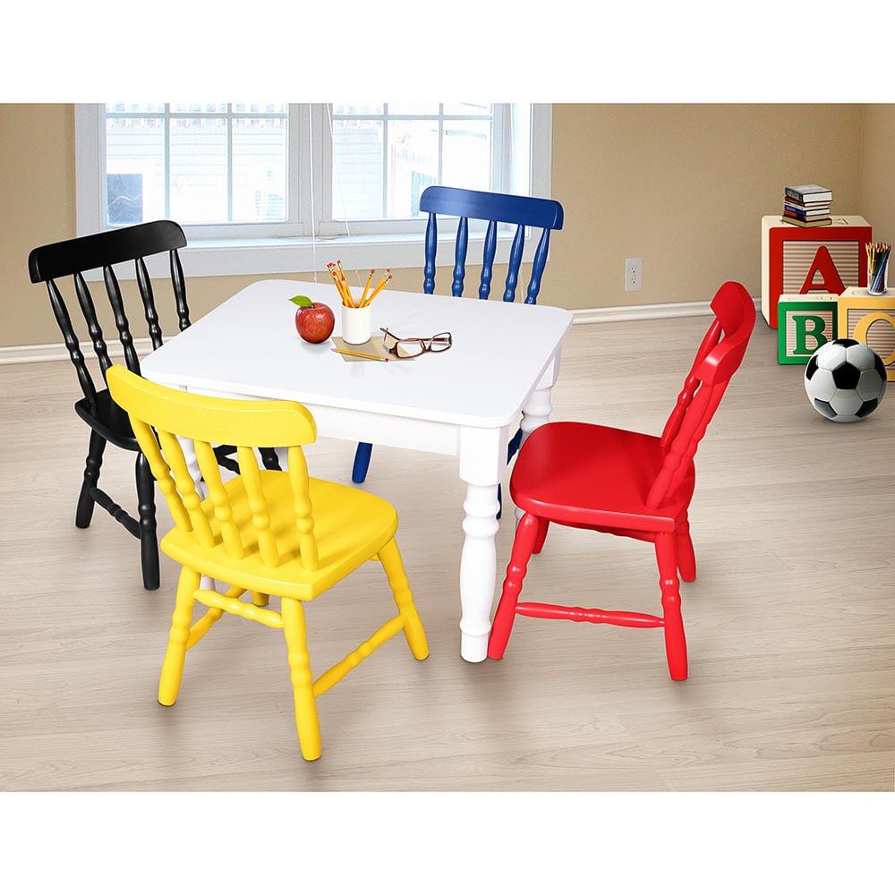 Conjunto Infantil Mesa Com 4 Cadeiras Infantis Madeira Torneada