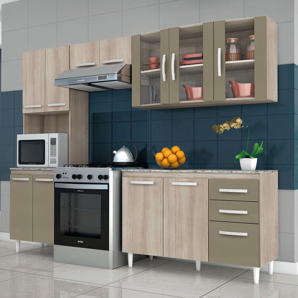 Cozinha Compacta 3 Pe As Com Porta De Vidro Paneleiro Duplo E Balc O
