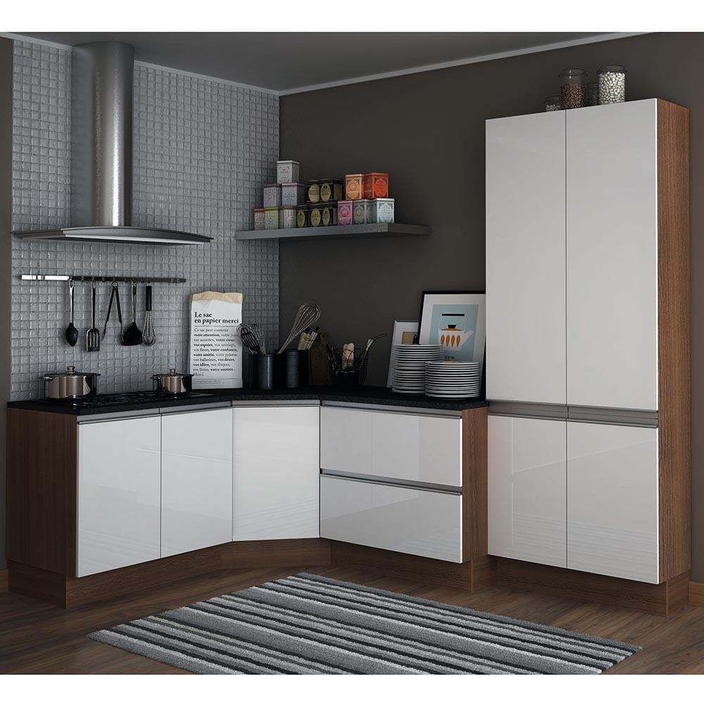 Cozinha Compacta Com 3 Balc Es E Paneleiro Duplo Glamy Premium 100